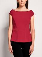 Off The Shoulder Crepe Knit Top , Red, hi-res