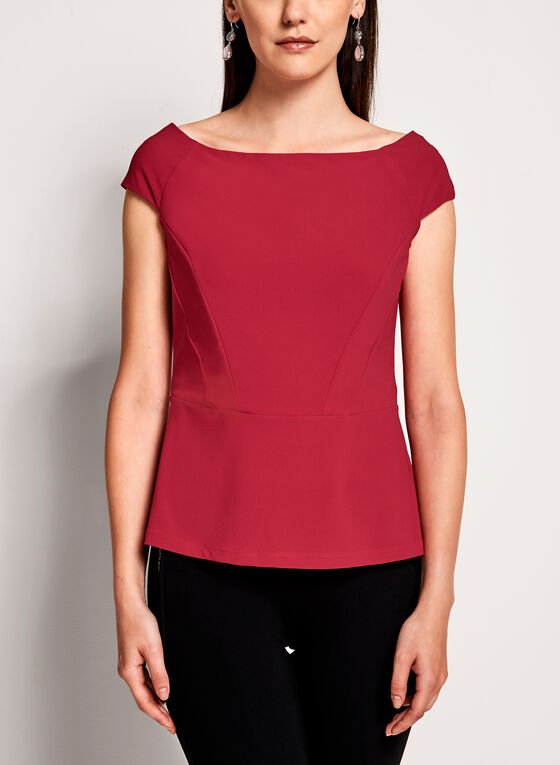 Off The Shoulder Crepe Knit Top , Red, hi-res