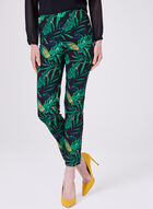 Leaf Print Pull On Pants, Black, hi-res