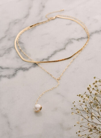 Collier à pendentif avec perles , Blanc cassé,  bijoux, accessoires, pendentif, perle, doré, chaîne, printemps été 2021