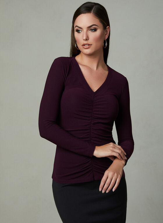 Ruched Front Blouse, Purple, hi-res