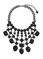 Multi-Stone Bib Necklace, Black, hi-res