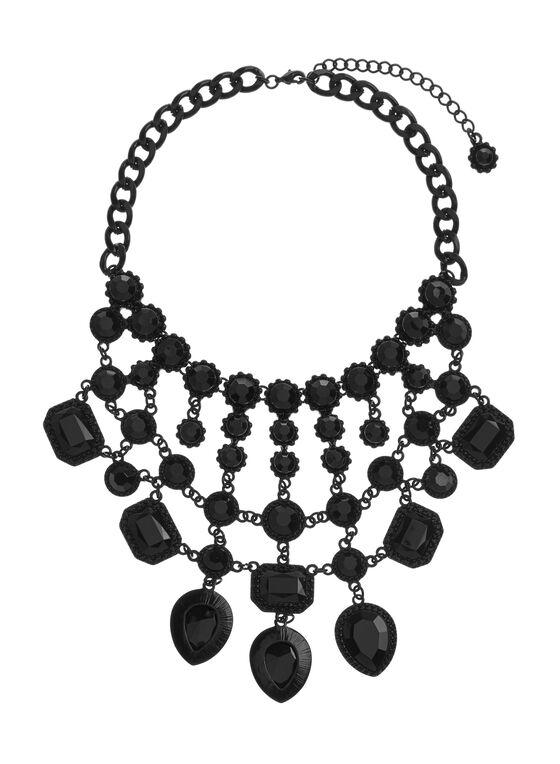 Collier plastron à pierres facettées, Noir, hi-res