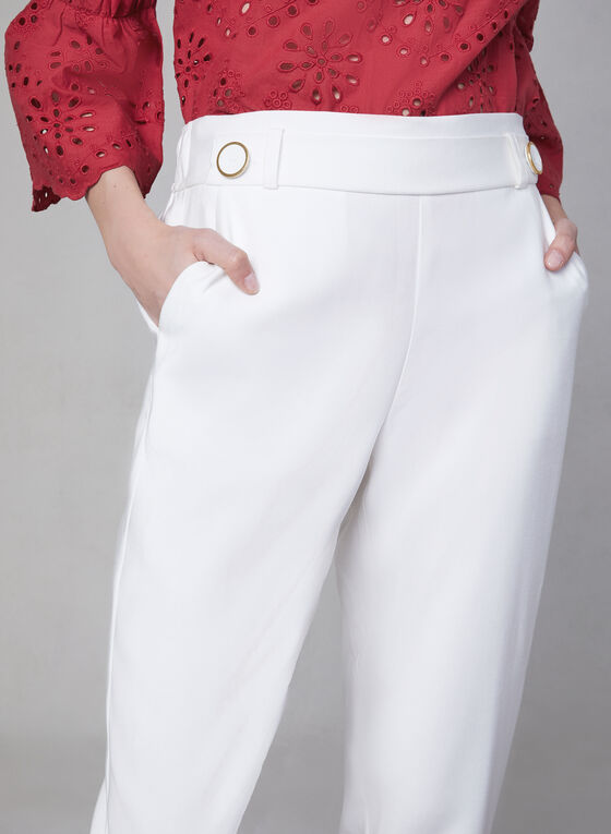 Slim Leg Pull-On Pants, Off White