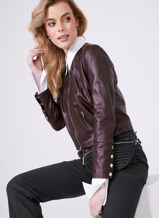 Genuine Leather Zipper Trim Jacket, Red, hi-res
