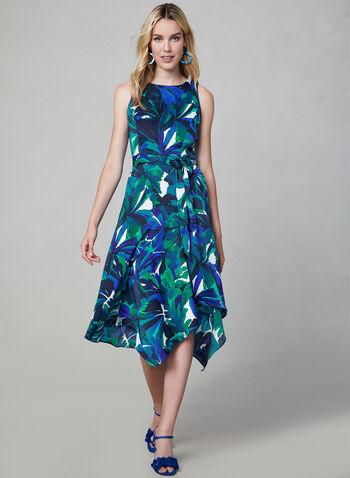 Sleeveless Floral Print Dress, Blue,  sharkbite dress, sharkbite hemline, day dress, cocktail dress, midi dress