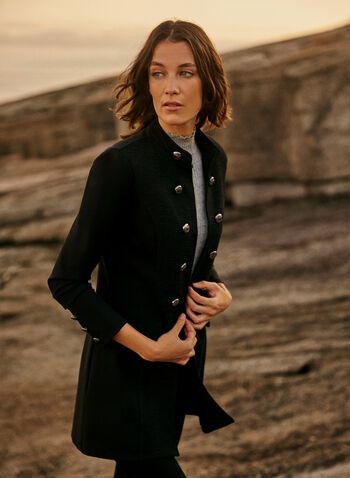 Joseph Ribkoff - Military-Style Jacket, Black,  online exclusive, Joseph Ribkoff, Frank Lyman, jacket, long sleeves, buttons, military, Ponte de Roma, fall winter 2021