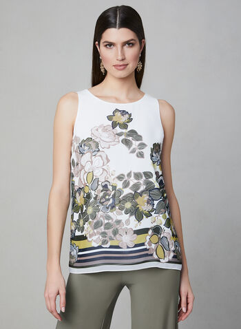 Floral Print Sleeveless Blouse, White, hi-res,  blouse, sleeveless, floral, spring 2019