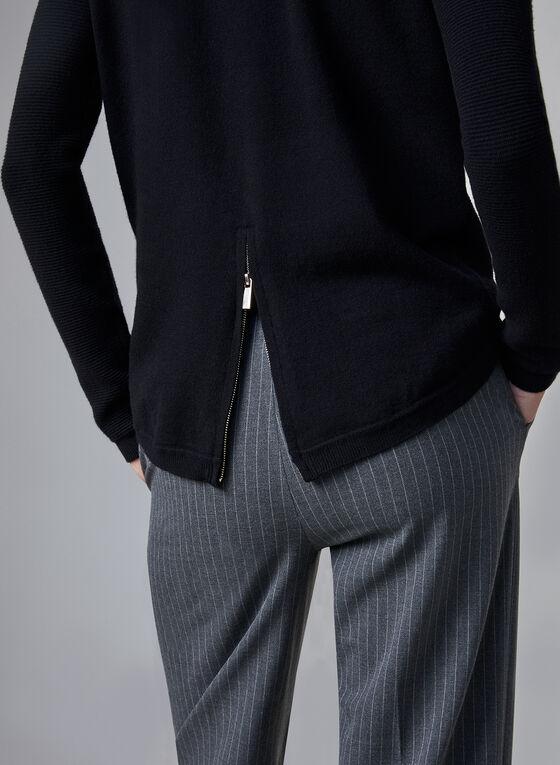 Ribbed Print Zipper Detail Sweater, Black, hi-res