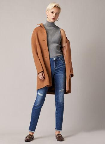 Distressed Slim Leg Jeans, Blue,  jeans, slim leg, distressed, faded, fringe, pockets, stretchy, denim, ankle length, spring summer 2020