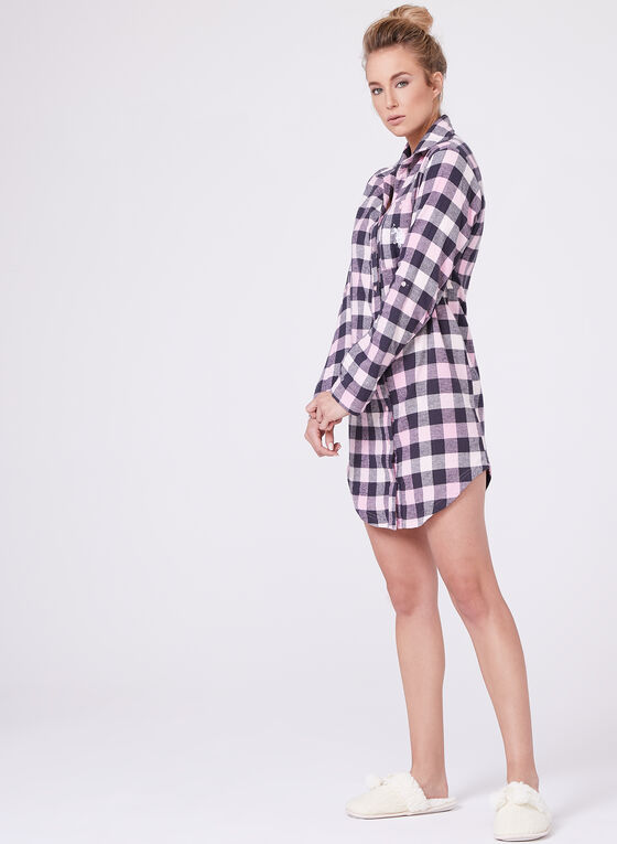 Check Flannel Night Shirt , Pink, hi-res