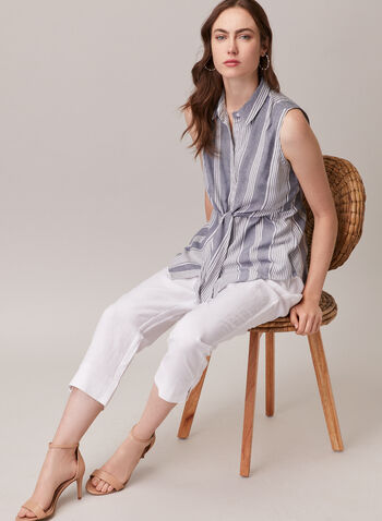 Sleeveless Shirt Collar Blouse, Blue,  blouse, shirt collar, stripe print, button down, sleeveless, spring summer 2020