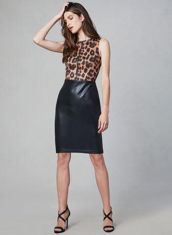 Joseph Ribkoff - Leopard Print Faux Leather Dress, Black, hi-res,  day dress, animal print, vegan, fall 2019, winter 2019, sleeveless