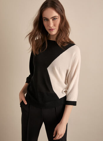 Colour Block Dolman Sleeve Sweater, Black,  sweater, colour block, knit, top, dolman sleeves, spring 2020, summer 2020