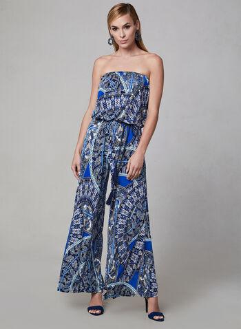 Strapless Jumpsuit, Blue, hi-res,  Spring 2019, jersey, wide leg, jumpsuit, mosaic print, strapless