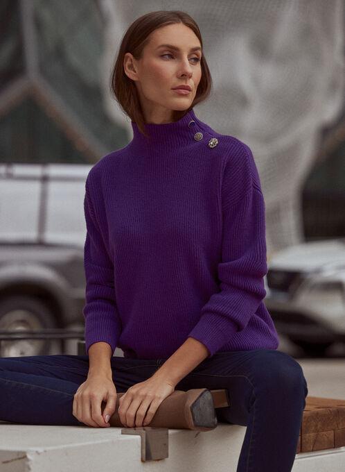 Button Detail Mock Neck Sweater, Purple