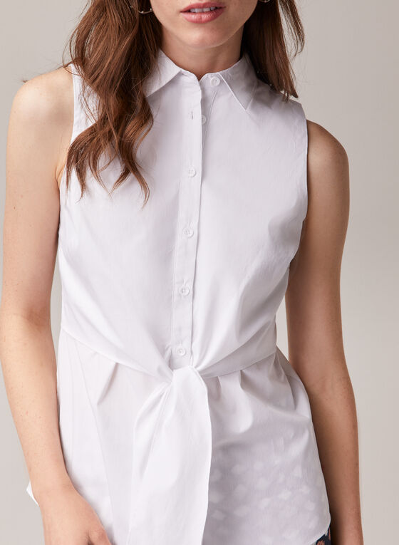 Knot Detail Sleeveless Blouse, White