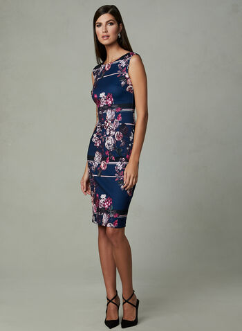 Adrianna Papell - Floral Print Dress, Blue, hi-res