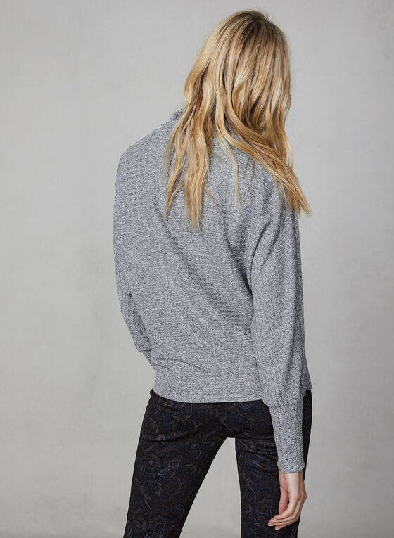 Rib Knit Dolman Sleeve Top, Grey