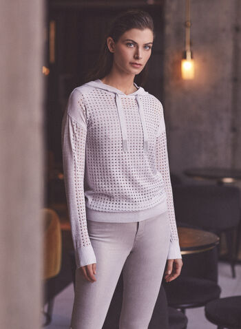 Joseph Ribkoff - Open Weave Hooded Sweater, Silver,  sweater, knit, hoodie, hood, drawstring, rhinestones, open weave, rib knit, long sleeves, ribkoff, lyman, spring summer 2021