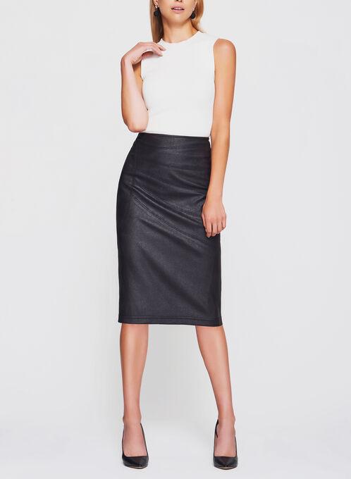 Vex - Faux Leather Pencil Skirt, Black, hi-res
