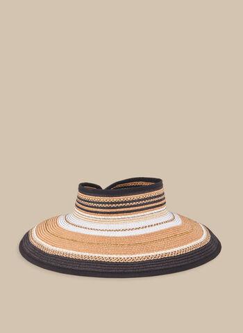 Capeline sans fond en paille rayée, Noir,  chapeau, capeline, paille, rayures, sans fond, printemps été 2020