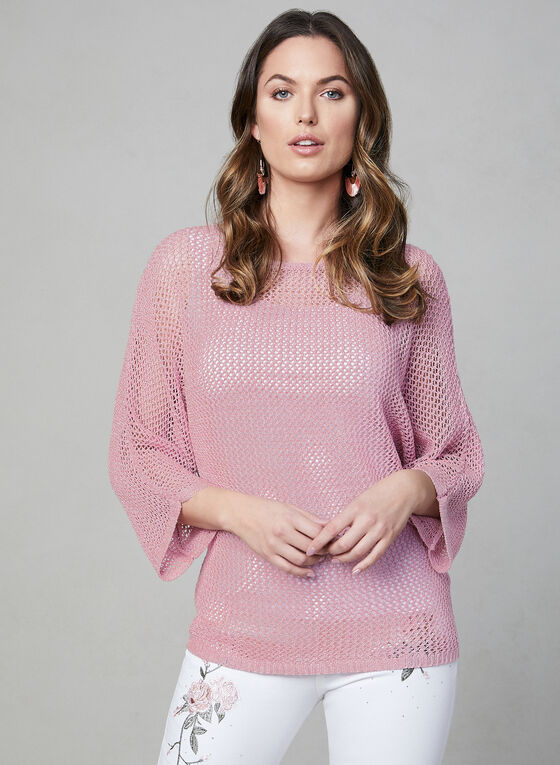 Open Weave Bat Sleeve Sweater, Pink