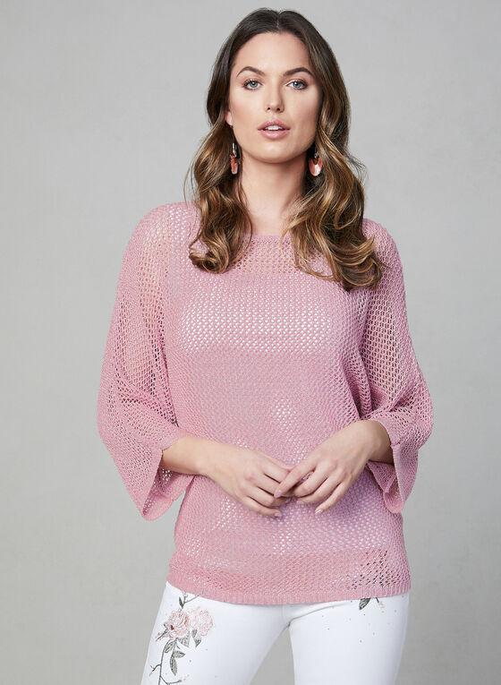 Pull en tricot à manches dolman, Rose