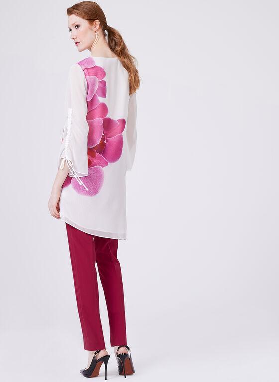 Asymmetric Floral Chiffon Tunic, White, hi-res