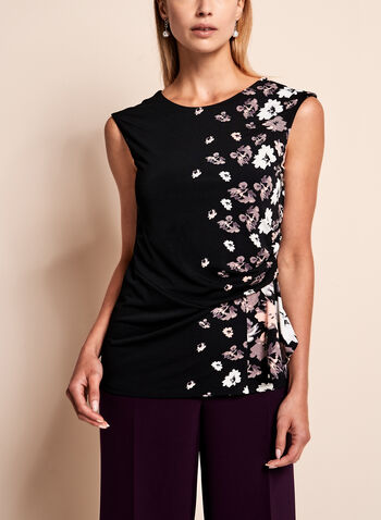 Floral Print Side Tuck Jersey Blouse, , hi-res