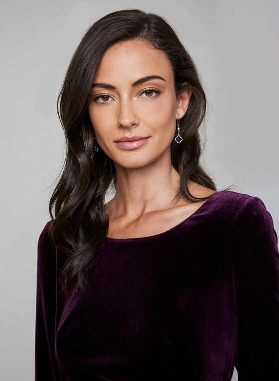 Alex Evenings - Draped Velvet Dress, Purple