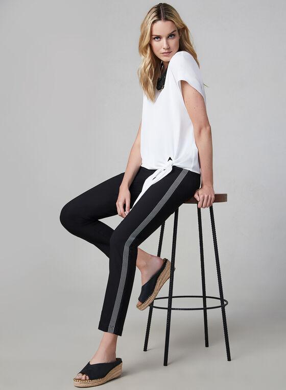Contrast Trim Slim Leg Pants, Black