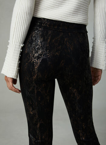 Insight - Pantalon pull-on à motif abstrait métallisé, Noir, hi-res