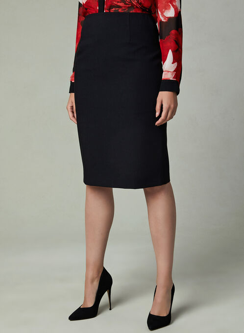 Louben - Faux Wool Pencil Skirt , Black, hi-res