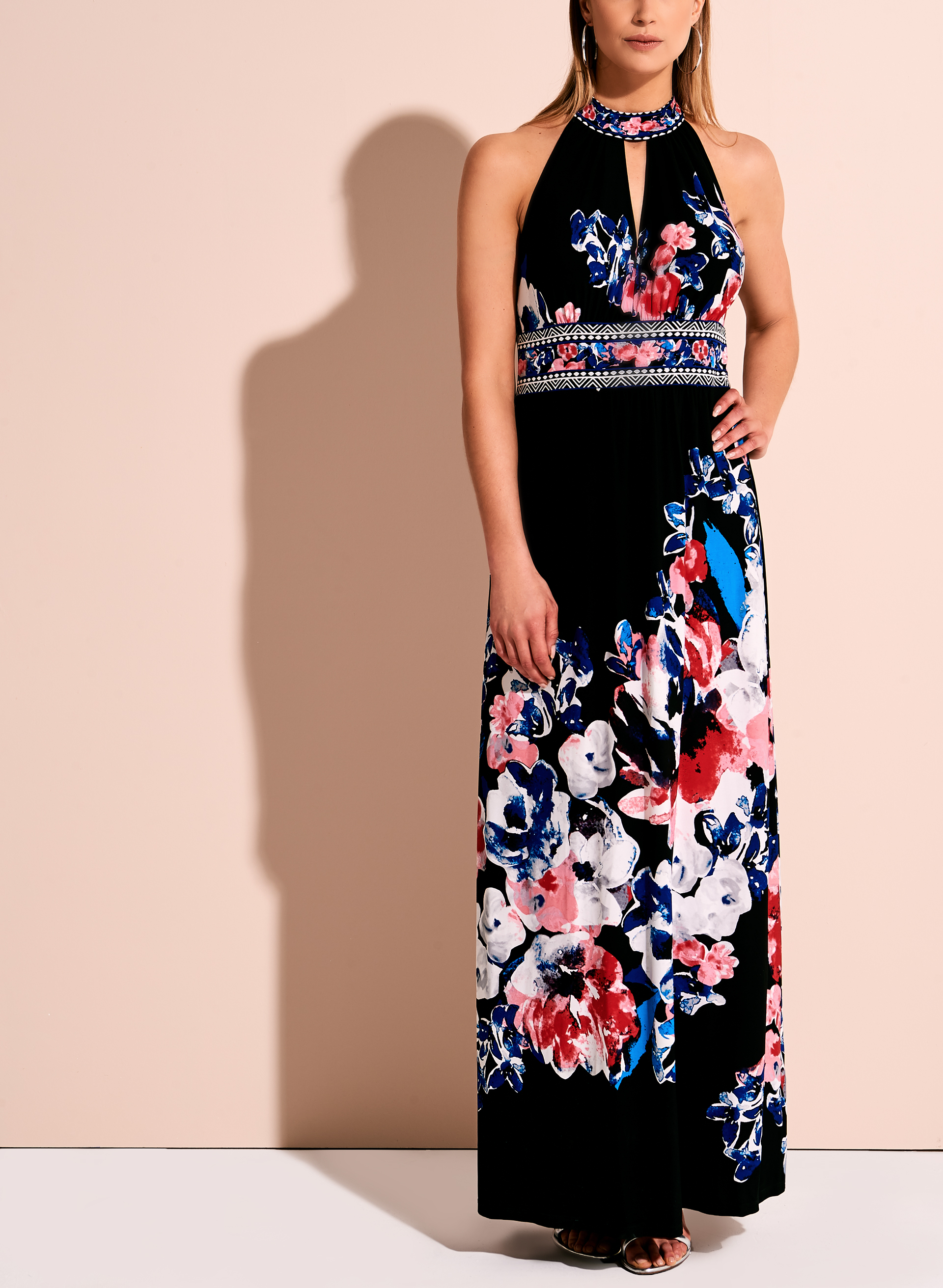 Floral Print Halter Neck Maxi Dress Free Shipping