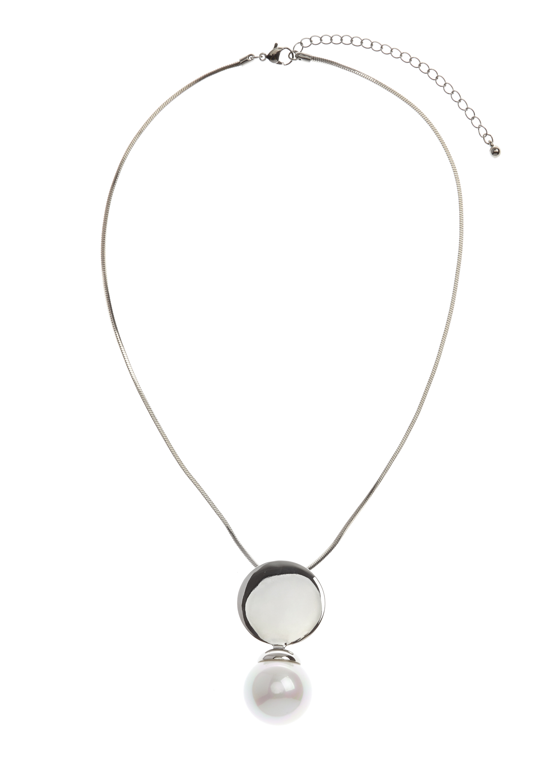 Snake Chain Pearl Pendant Necklace, Off White, hi-res