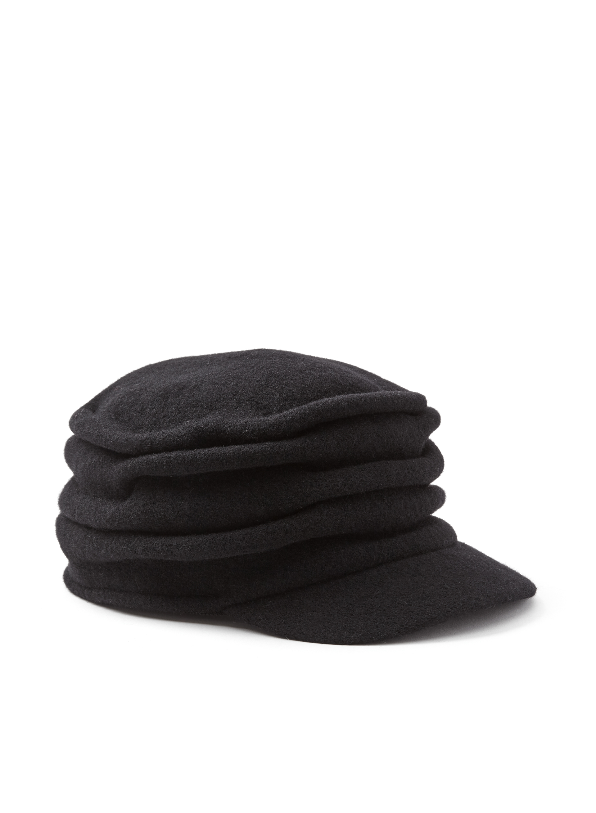 Pleated Wool Cap, Black, hi-res