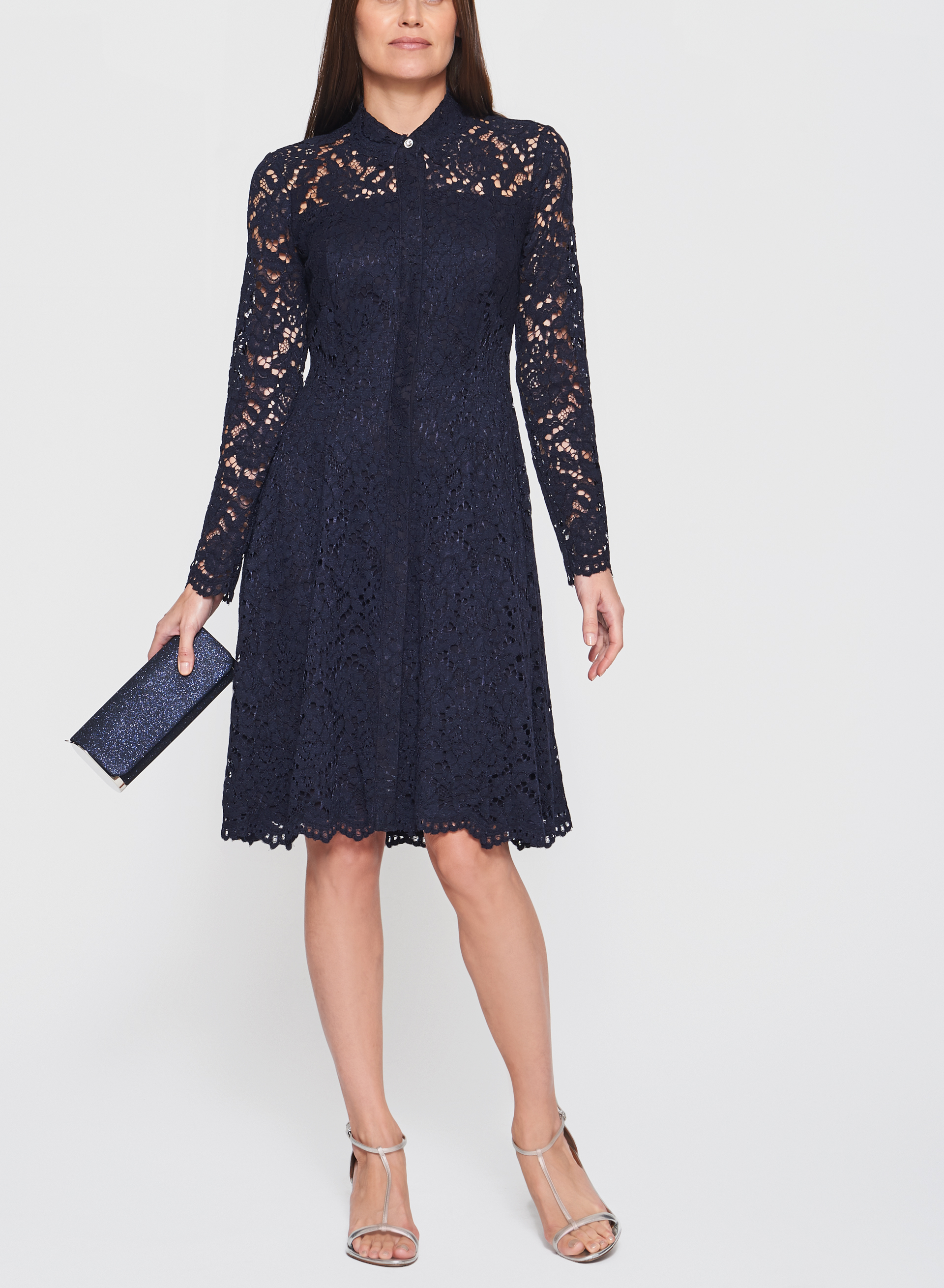 Maggy London - Cotton Lace Button Down Dress, Blue, hi-res