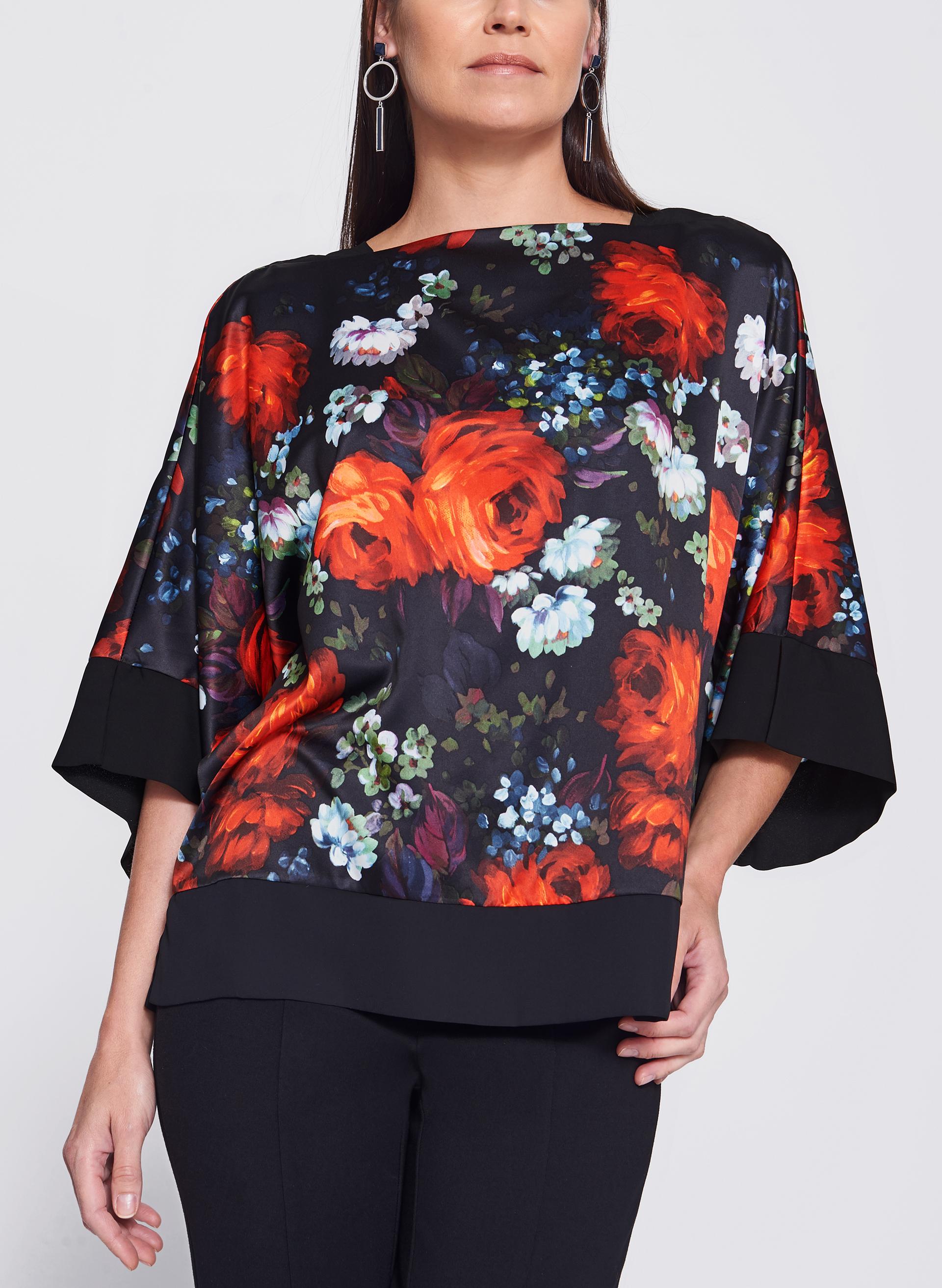 Floral Print Satin Kimono Top | Melanie Lyne