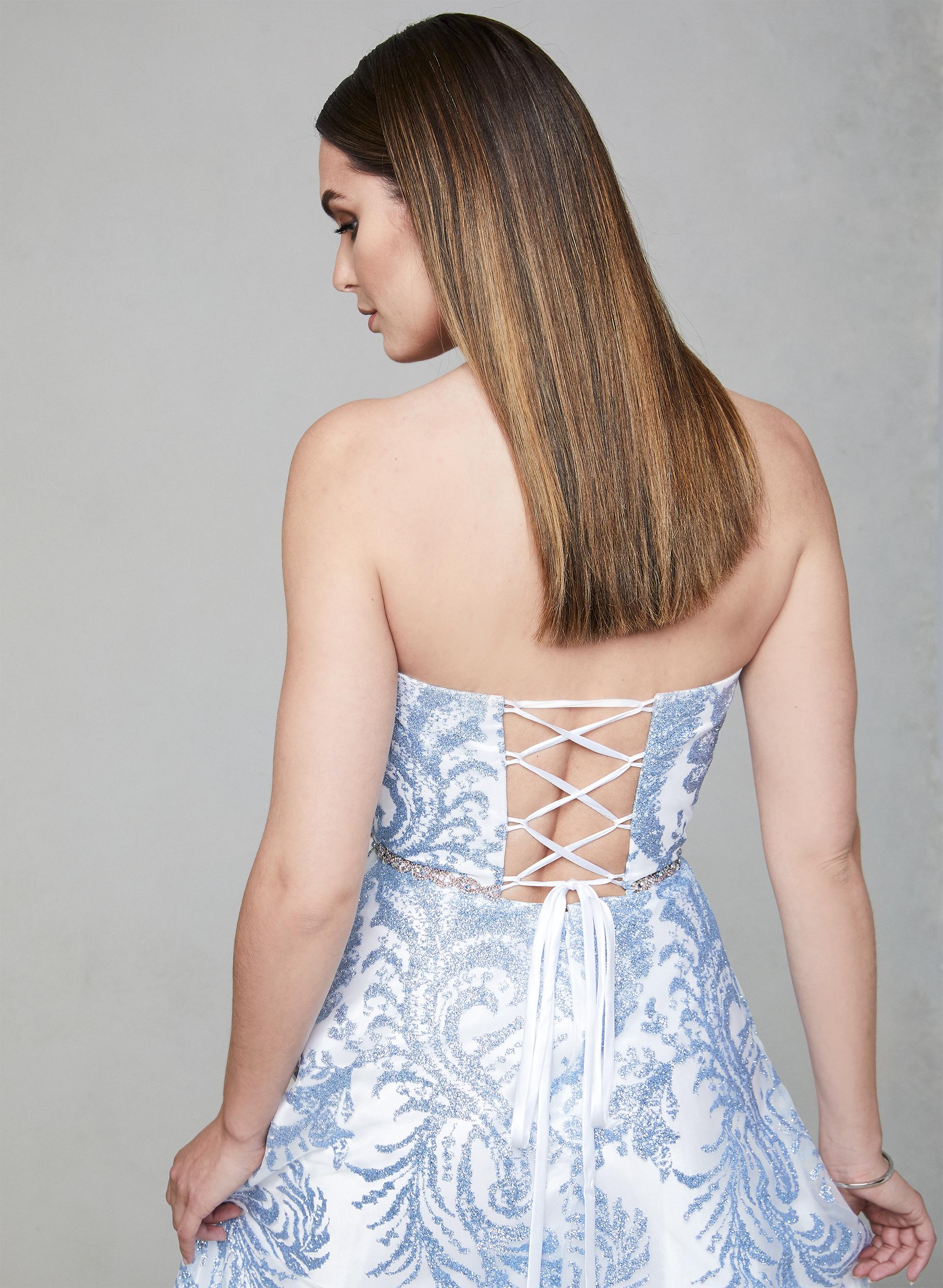 0b12f95104e8 ... Cachet - Strapless Glitter Gown, White, hi-res ...