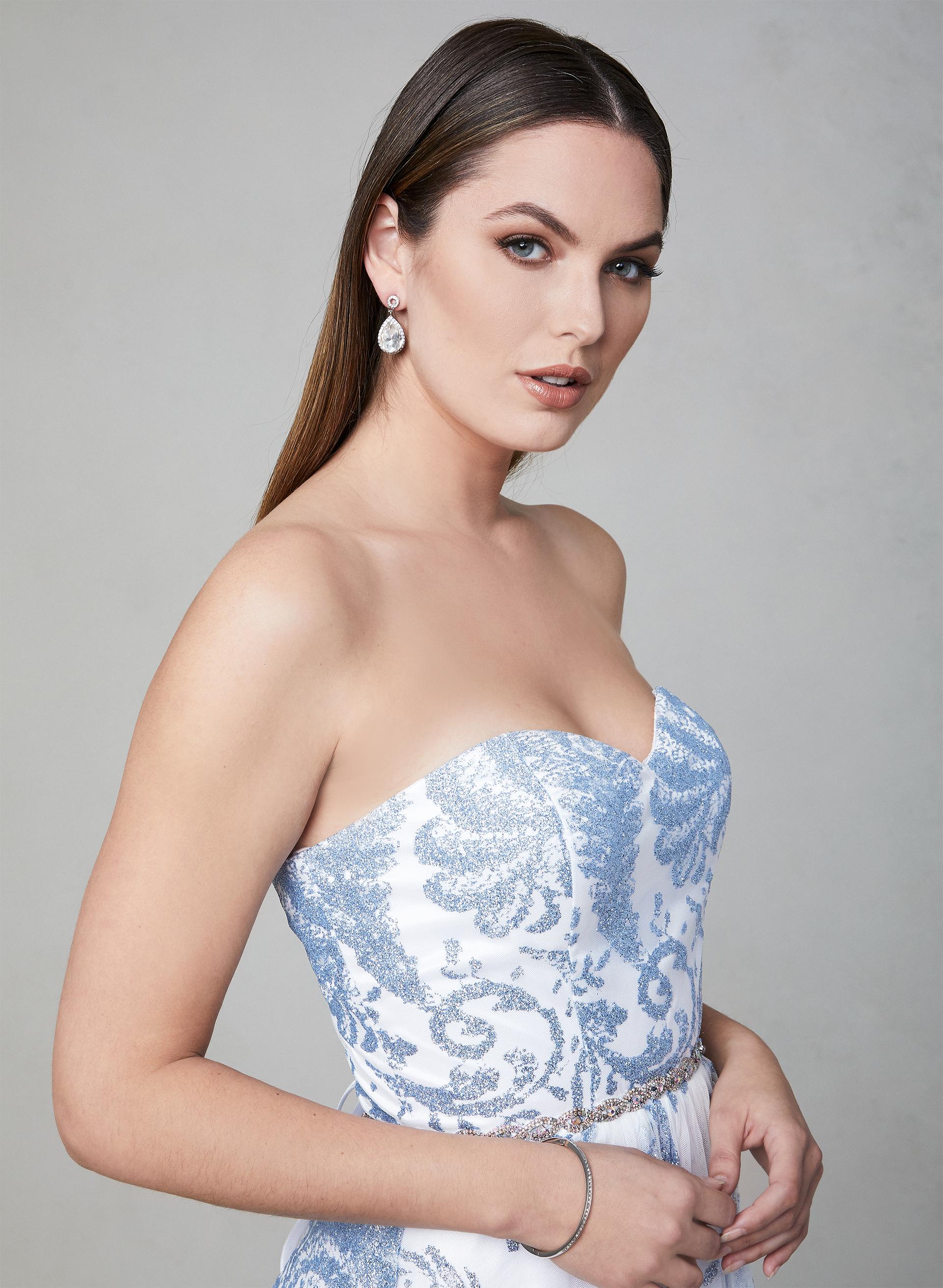 e973880ea29c ... Cachet - Strapless Glitter Gown, White, hi-res