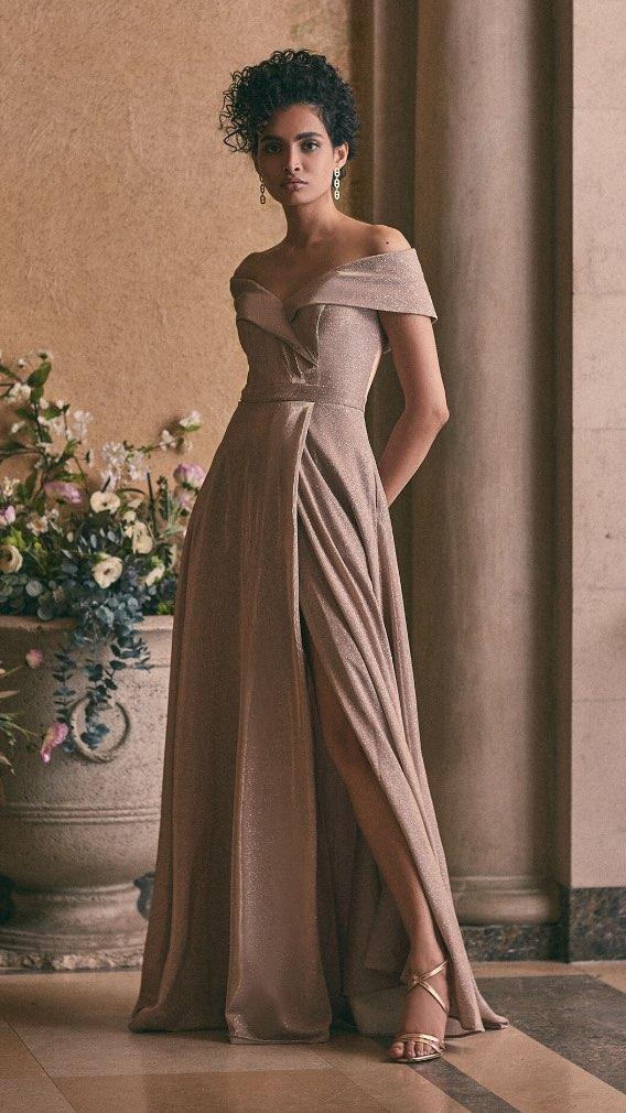 BA Nites - Off-the-Shoulder Glitter Gown