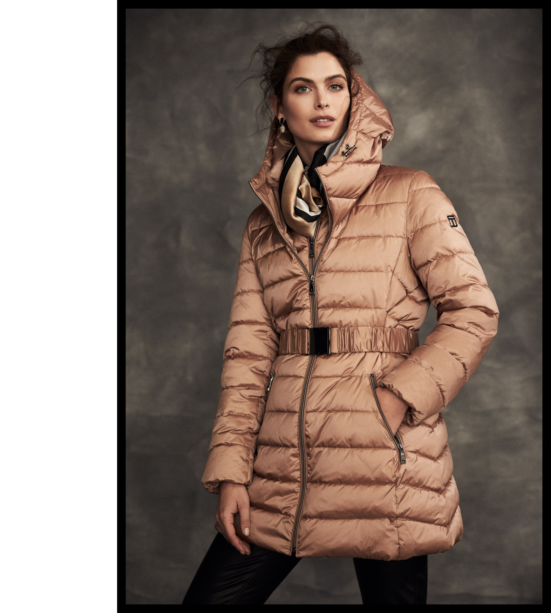 Tahari Quilted Coat With Hood