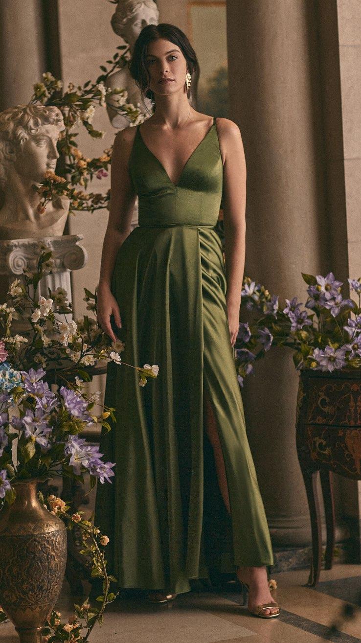 BA Nites - V-Neck Satin Dress