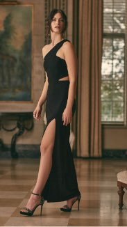 BA Nites - One-Shoulder Crepe Gown