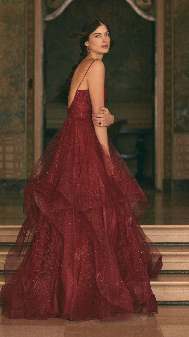 Terani Couture - V-Neck Glitter Ball Gown