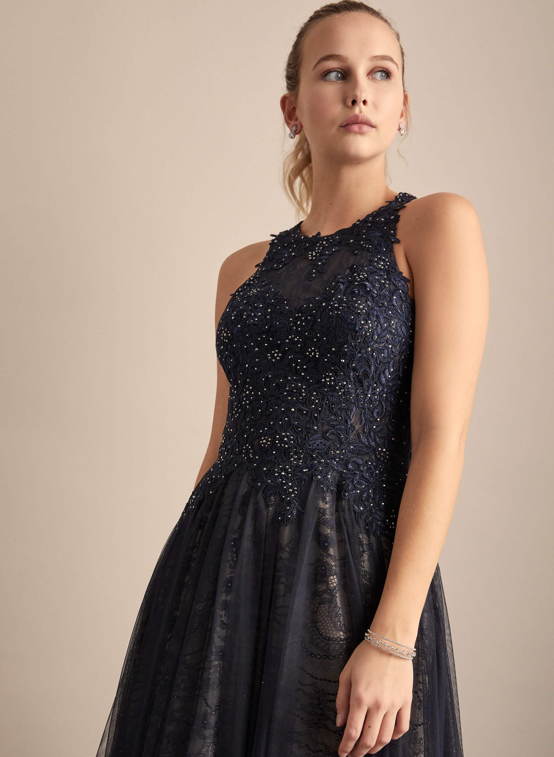 Prom - Melanie Lyne - 2020 - Cachet - BA Nites - Robe de bal à broderies et maille filet