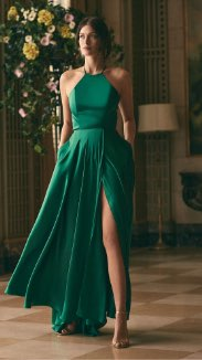 Apron Neck Satin Dress