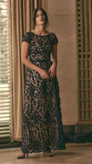 BA Nites - Floral Appliqué Mesh Dress
