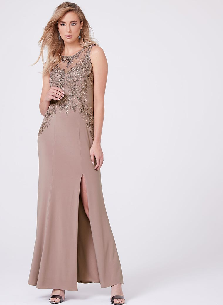 Cachet - Embroidered Mesh Jersey Gown